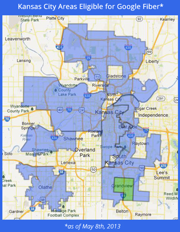 Kansas City Areas Eligible for Google Fiber (as of 05/08/2013).
