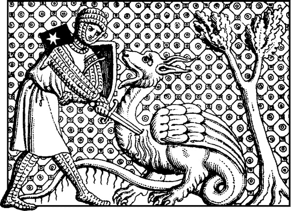 Yet another style of a knight slaying a dragon.